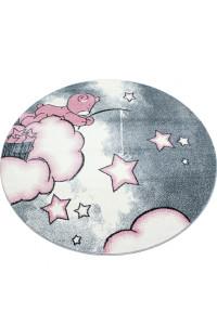 Detský kruhový koberec Kids 580 ružový