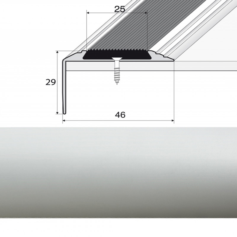 Schodová lišta narážaná 4,6x2,9cm