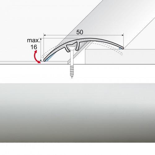 Prechodová lišta narážaná A65 striebro
