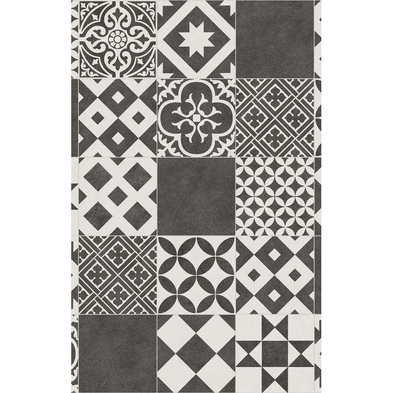 PVC Pentax Marokko black - čierno-biely vzor